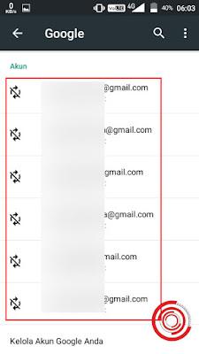 3. Terakhir nantinya akan muncul semua alamat email Gmail yang terdaftar pada akun Google yang login di perangkat kalian tadi