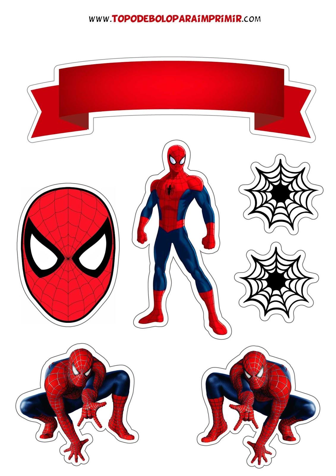 Topo De Bolo Homem Aranha Para Imprimir Topper De Bolo Para Imprimir