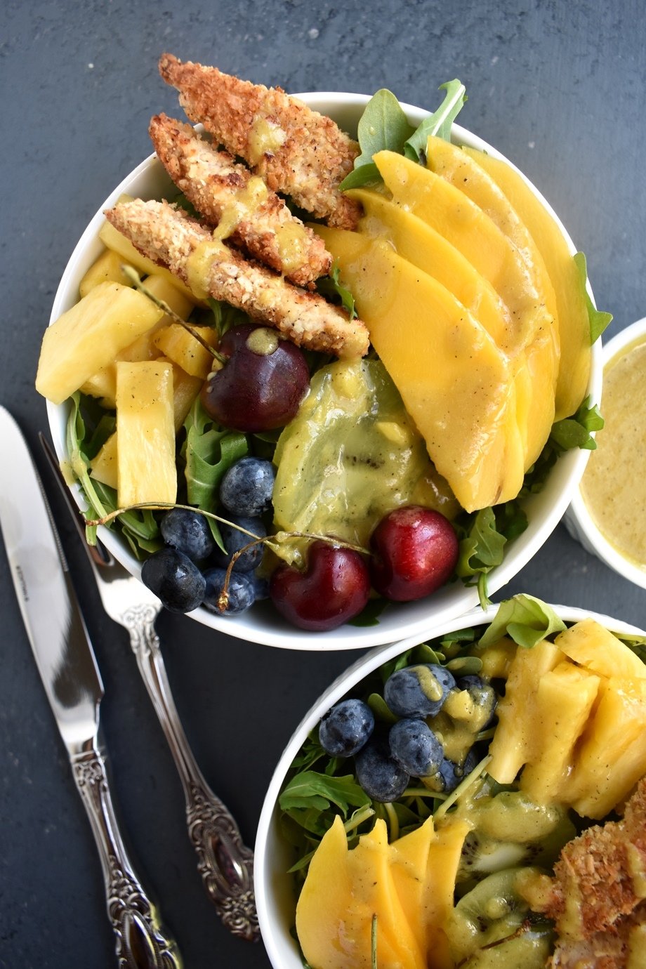 Healthy tropical coconut chicken salad