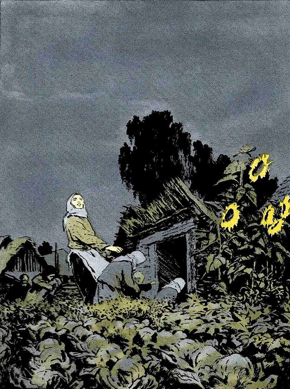 a 1959 Russian illustration, shelter from the gathering storm