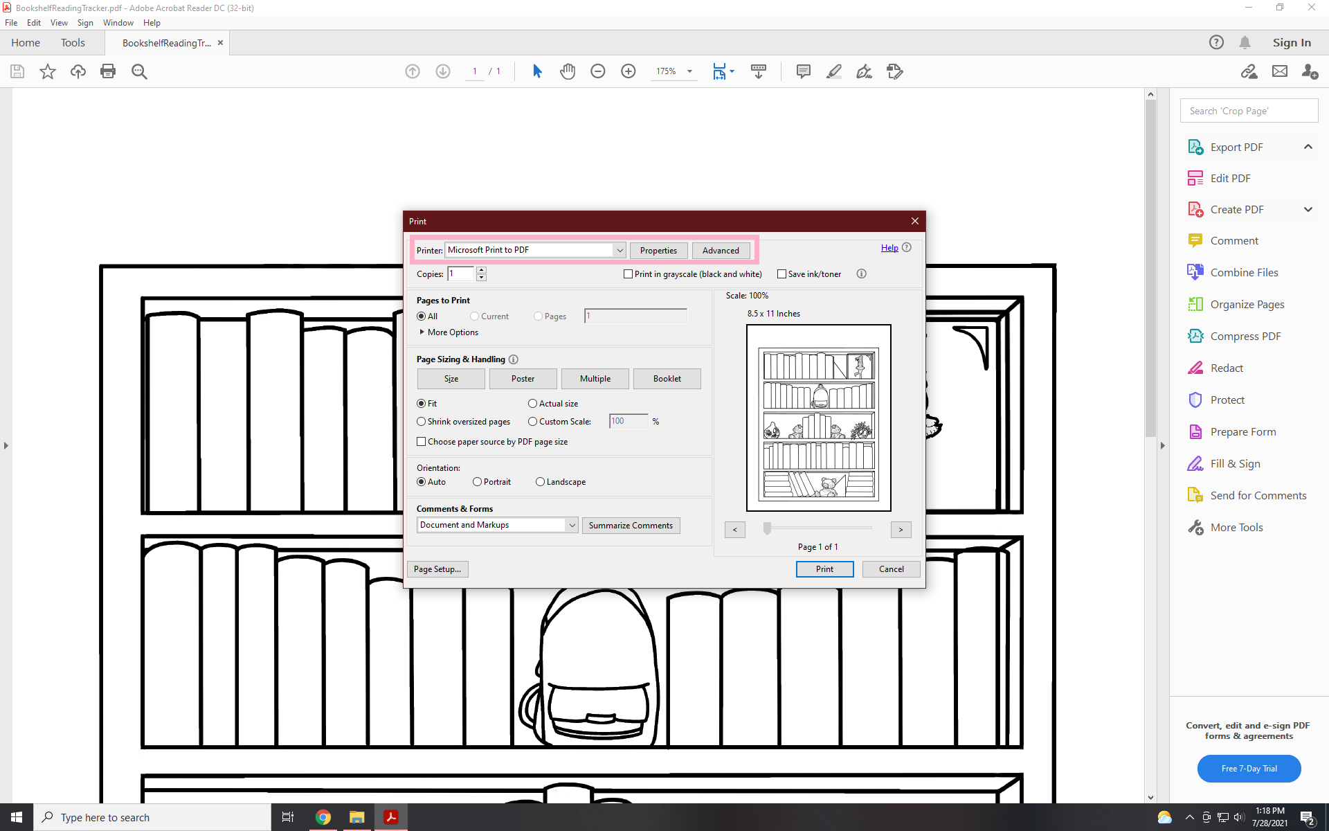 where to find your printer in adobe reader