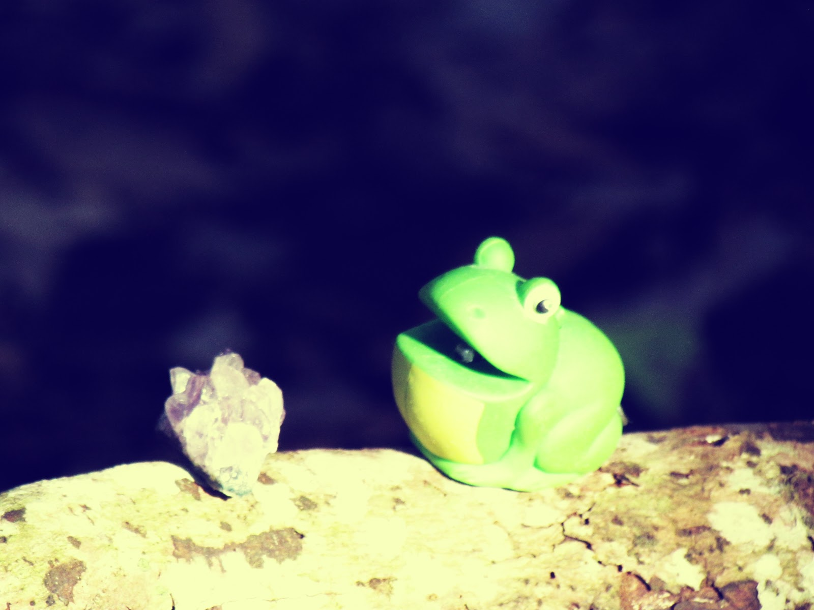 A purple amethyst gemstone on a wooden log being chased by a green toy flashlight frog: girls novelty toys