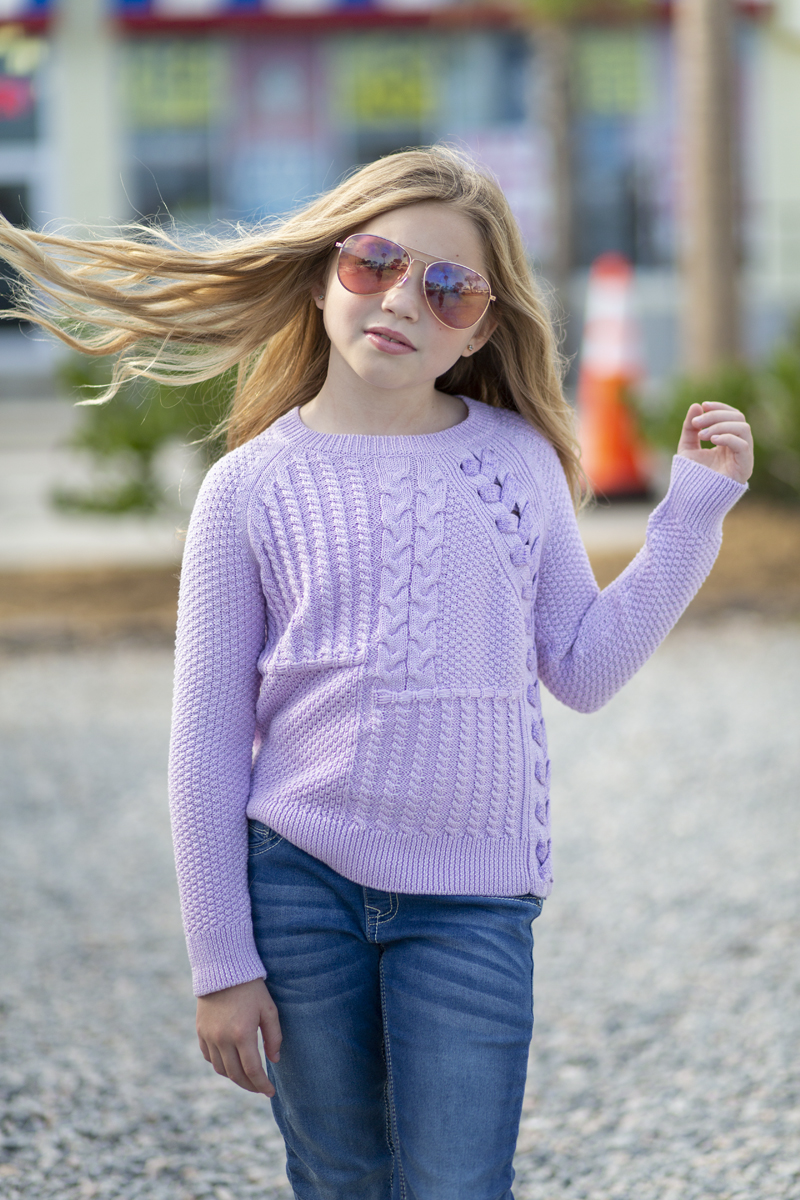 girl models lavender design history sweater fall 2018