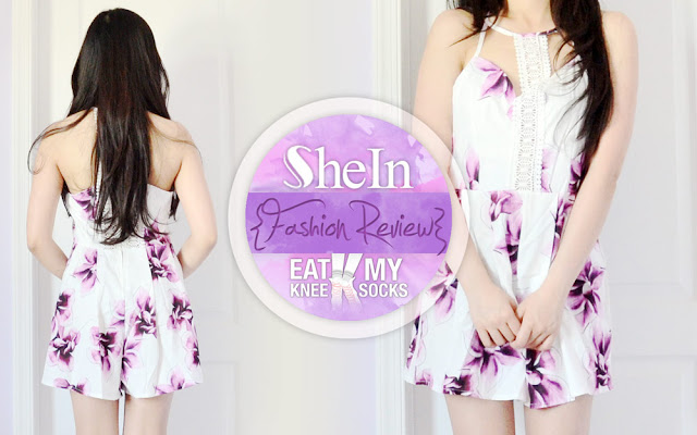 Hey everyone! Today I've returned with yet another SheIn fashion review! This time I got a white crochet-trim floral romper with purple printed accents, a piece that combines comfort and style for the ultimate no-fuss summer ensemble. - Eat My Knee Socks / Mimchikimchi