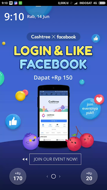 Misi Login dan Like Facebook