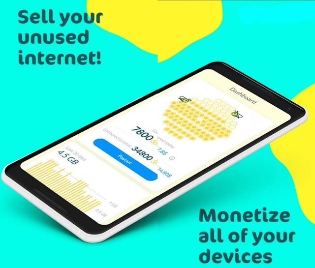 Pendapatan pasif dengan menjual kelebihan kuota internet dengan HoneyGain
