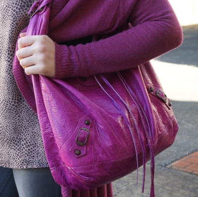 Balenciaga 2005 magenta chevre classic RH day bag hobo on shoulder | AwayFromTheBlue
