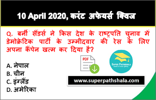 Daily Current Affairs Quiz in Hindi 10 April 2020