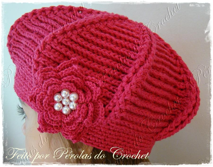 Renata Vieira Pérolas do Crochet  Boina em croche modelo Relevo 548756977c2