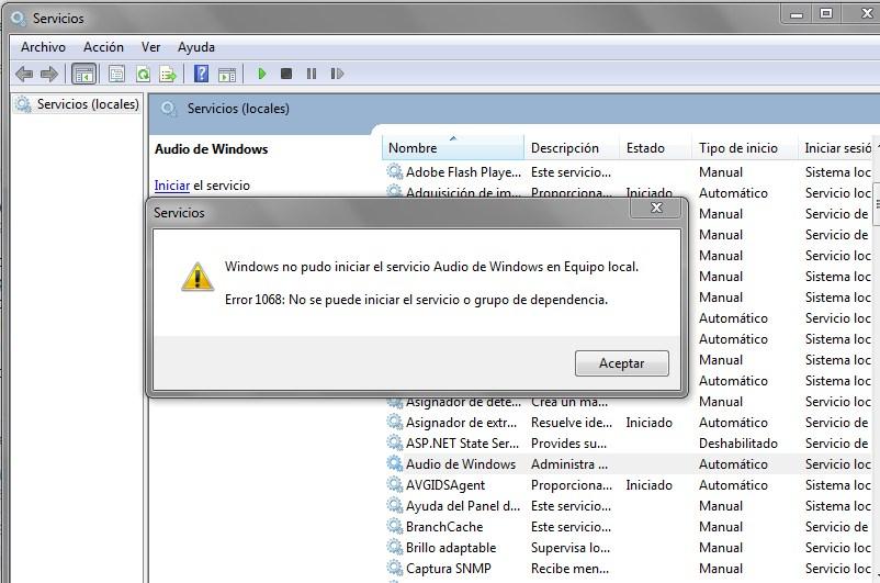 Solucionar Error 1068 al iniciar Cola de impresión en Windows 10