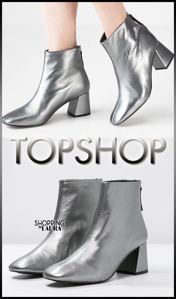 Chaussures de soirée bottines en cuir argent TOPSHOP