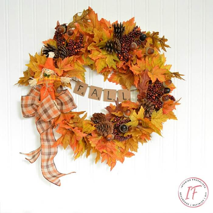 Easy Peasy Scrabble Tile Banner Fall Wreath