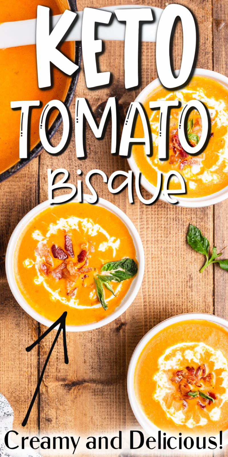 Keto Tomato Bisque with Bacon - This easy to make keto tomato soup is creamy and delicious with bacon and basil. It will quickly become a family favorite! #keto #lowcarb #glutenfree #tomato #bacon #basil #soup #bisque #easy #recipe