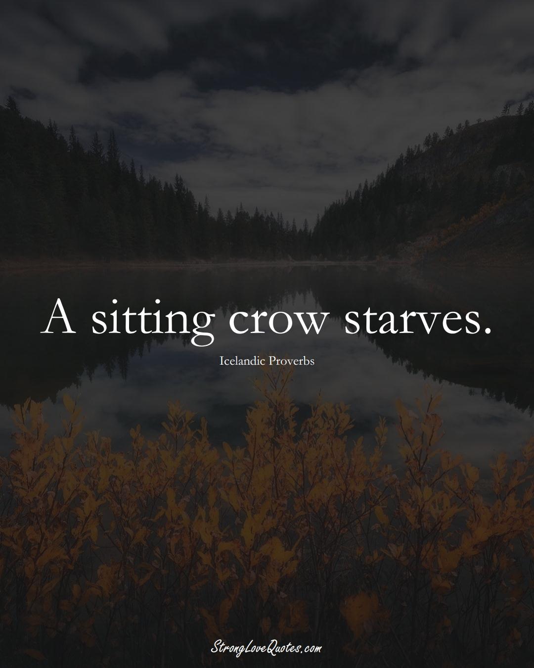 A sitting crow starves. (Icelandic Sayings);  #EuropeanSayings