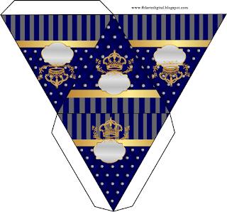 Caja con forma de pirámide de Corona Dorada en Azul y Brillantes.