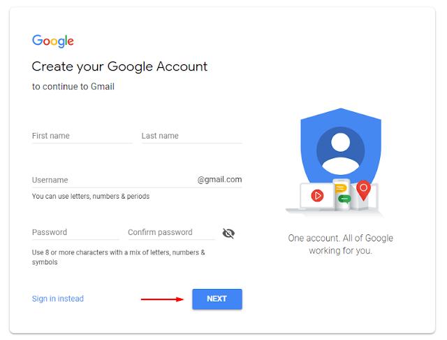 Isi identitas untuk daftar Gmail