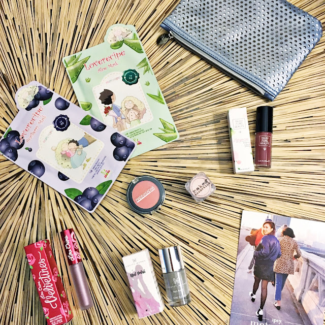 January 2017 Ipsy GlamBag LoveRecipe Sheet Masks in Aloe and Acai Berry Manna Kadar Paradise Pearlized Blush Pretty Woman Nail Polish in I Can't Deal Trust Fund Beauty Lip Gloss in Blame Game Naked Cosmetics Pigment in Desert Sunset #02