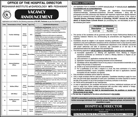 peshawar-institute-of-cardiology-pic-jobs-2020-application-form