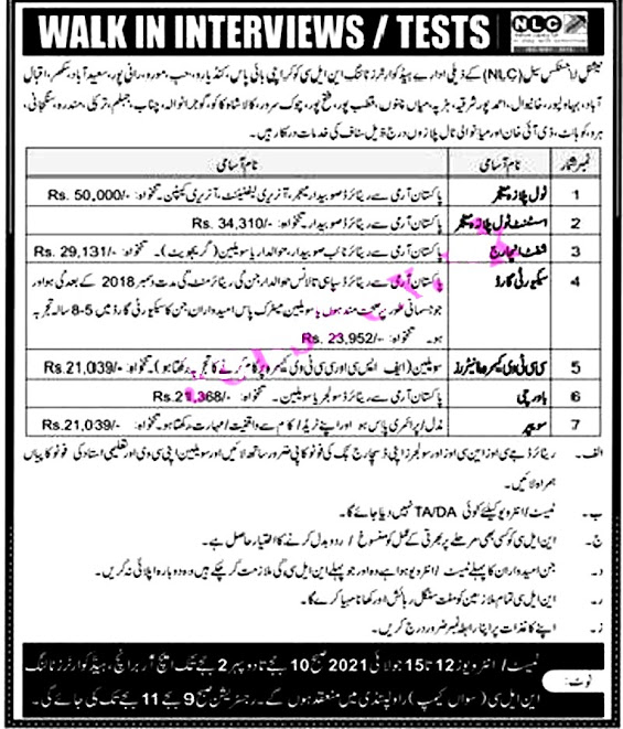 Latest Jobs in National Logistics Cell NLC