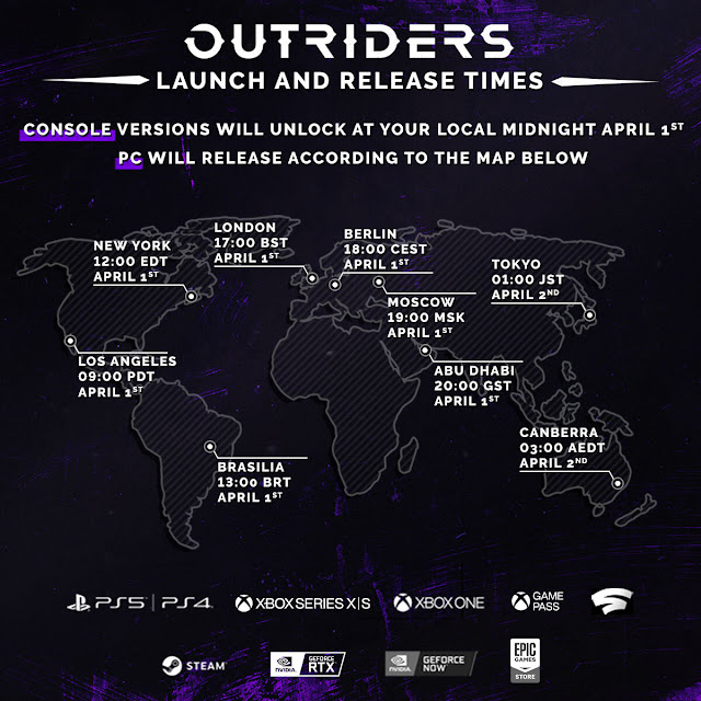 Global release time line of Outriders launching on 1st April is here - Console version to launch at local midnight time on April 1st | TechNeg