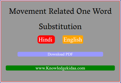 Movement Related One Word Substitution ( Hindi and English )