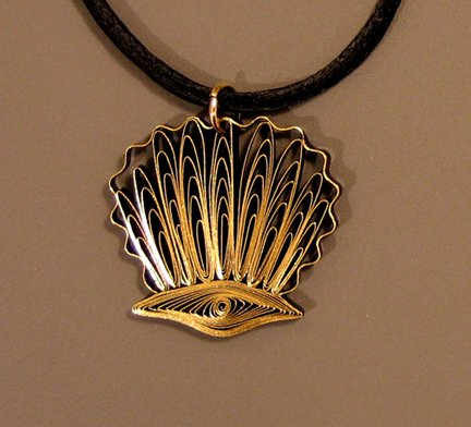 quilled scallop shell pendant with black silk necklace cording