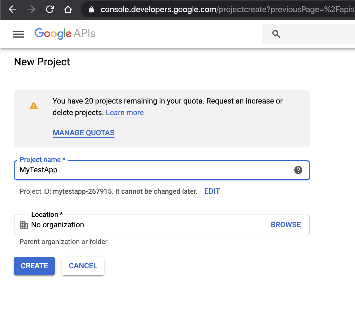 Name of Google Developer console application for oauth
