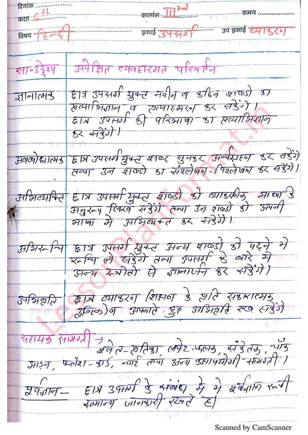 Hindi Lesson Plan Class 6 For B Ed And D El Ed