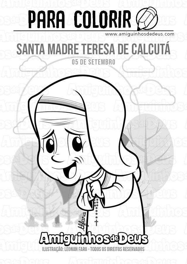 Santa Madre Teresa de Calcutá desenho para colorir