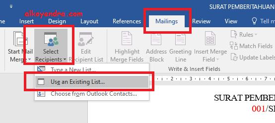 Cara Membuat Mail Merge Dari Excel Ke Word - ALKOYENDRA.COM