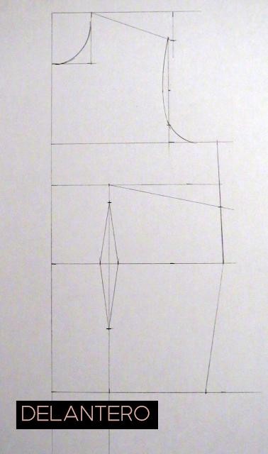 Patrón base delantero de una persona con más contorno de cintura que de cadera