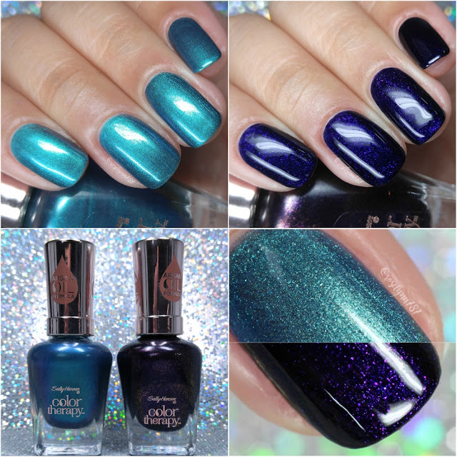 Sally Hansen Color Therapy - Reflection Pool and Slicks & Stones | Swatches & Review