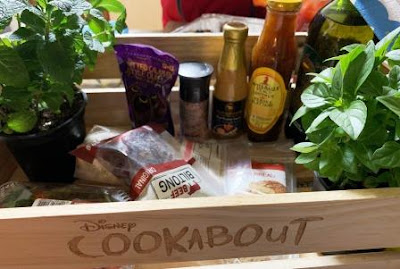 Disney Cookabout crate with food, plants and sauces