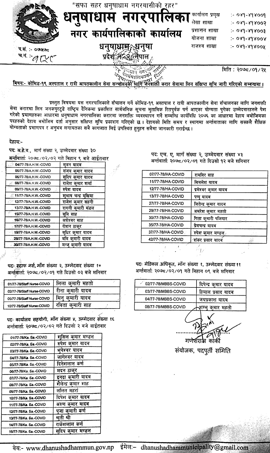 Dhanushadham Municipality, Dhanusa Shortlisting and Interview Notice for for HA, ANM and Office Helper