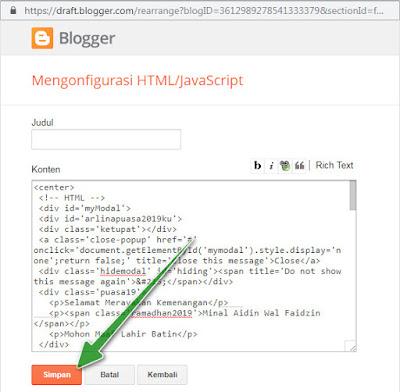 Cara Memasang Widget Melayang Ucapan Idul Fitri di Blog