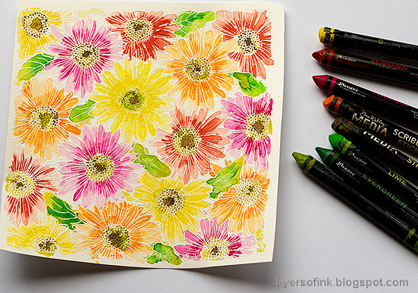 Layers of ink - Gerbera Daisy Watercolor Cards by Anna-Karin Evaldsson. Watercolor with Scribble Sticks.