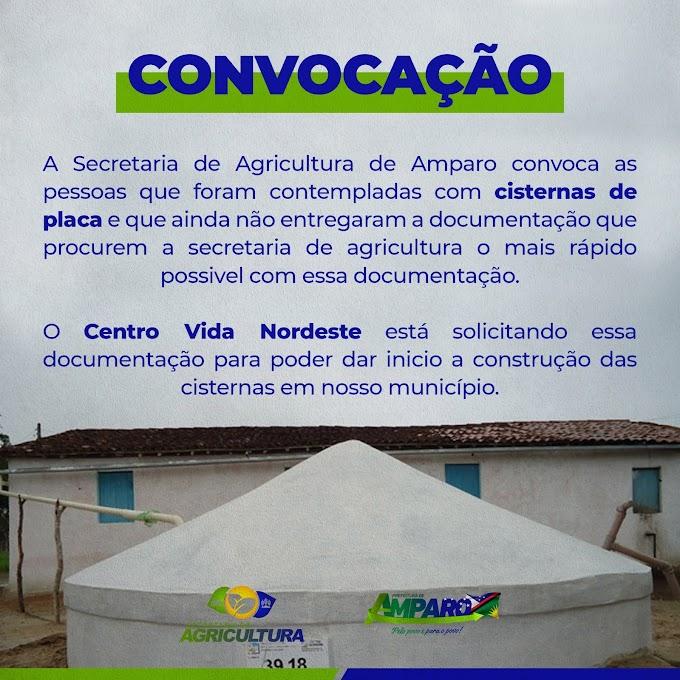 Comunicado da Secretaria de Agricultura de Amparo para contemplados com Cisternas de Placas