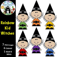 Little Rainbow Witches Clipart