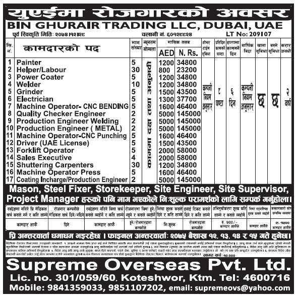 Jobs in Dubai for Nepali, Salary Rs 1,45,000