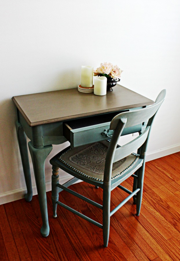 Small writing desk painted in Duck Egg Blue.