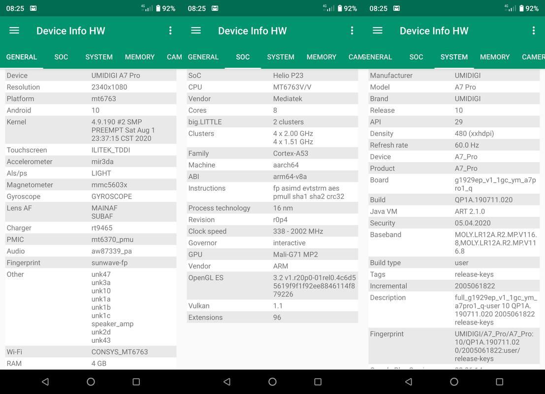 Device Info HW Umidigi A7 Pro