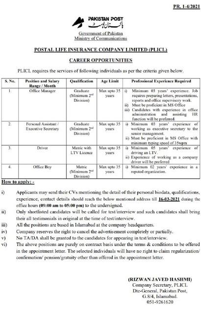 Pakistan Post Office Jobs 2021 | Officer Jobs 2021