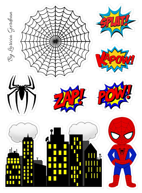 Spiderman Chibi Free Printable Cake Toppers.