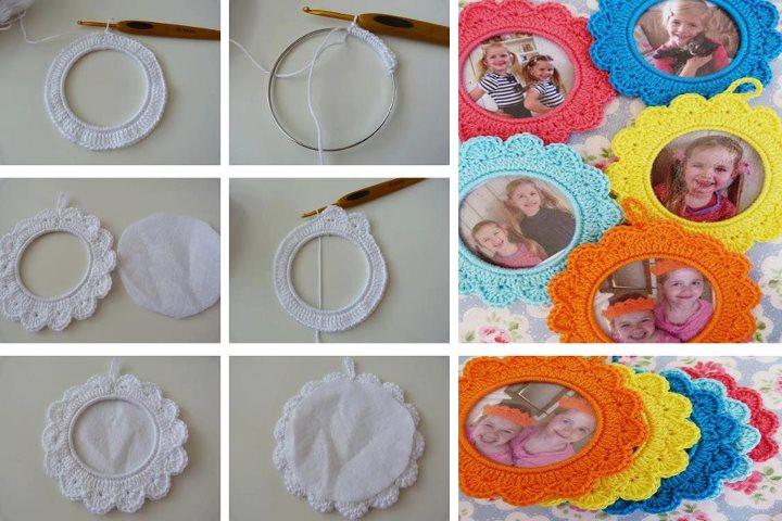 Porta Fotos Circulares de Crochet