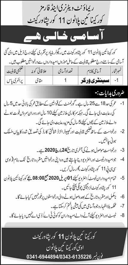New March 2020 jobs in Remount Veterinary and Forms Peshawar Cantt