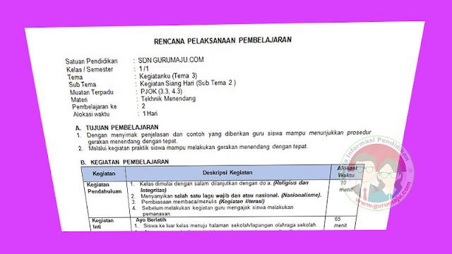 RPP 1 Lembar PJOK SD Kelas 1 Tema 3 K13 Revisi