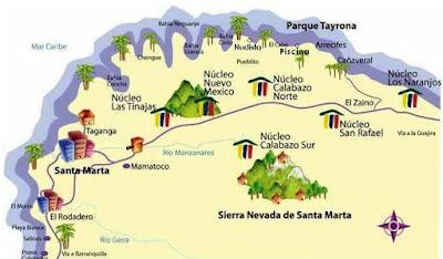 mapa del tayrona
