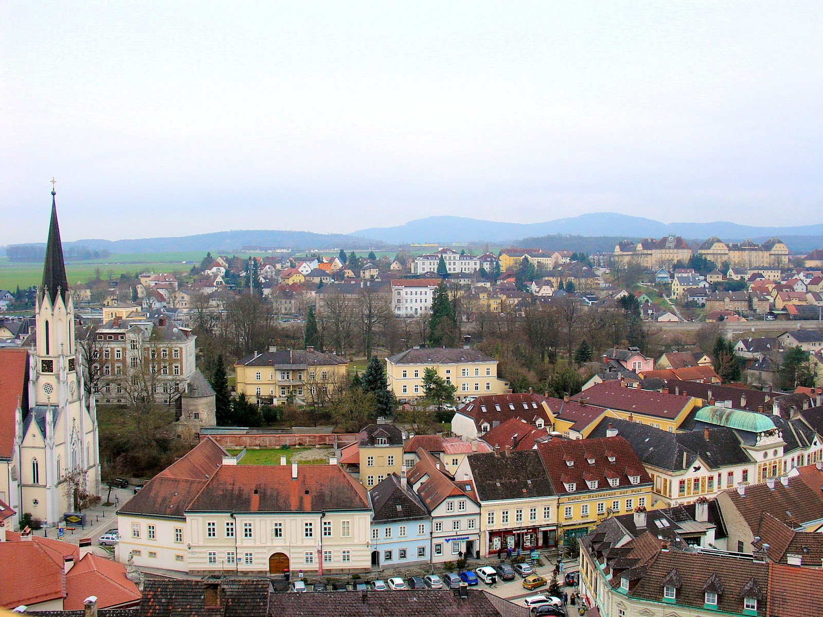 The village of Melk as seen from the Abbey, 200 feet above.