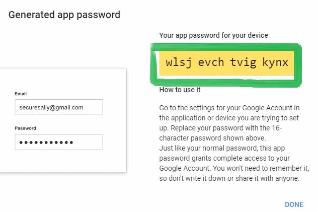 google generated app password