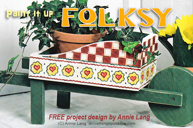 Paint it up Folksy with Annie Lang's FREE country style wheelbarrow planter design because Annie Things Possible when you DIY!